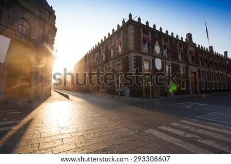 Republica de Brasil Street near church of Saint Domingo in Mexico capital city
