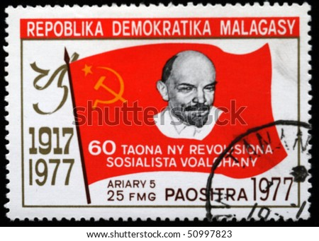 stock photo : REPUBLICA DEMOCRATICA MALAGASY - CIRCA 1970: A stamp printed in Malagasy (Madagaskar) shows Vladimir Lenin, circa 1970