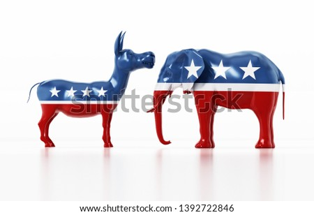Republican and Democrat party political symbols elephant and donkey. 3D illustration.