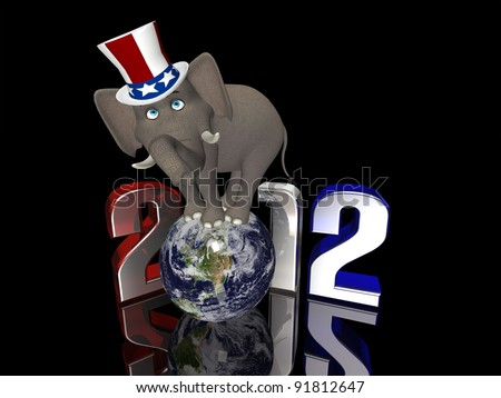 Republican Balance - 2012 Political Elephant balancing on a segmented Earth. Isolated on a black background.