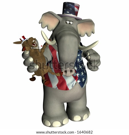Republican Elephant with Donkey voodoo doll Political humor.