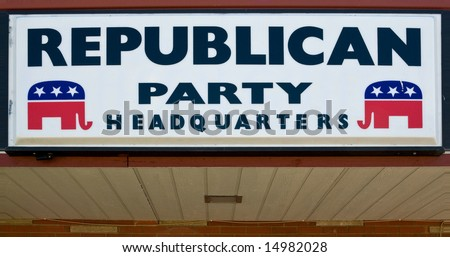 Republican party headquarters - sign on brick wall