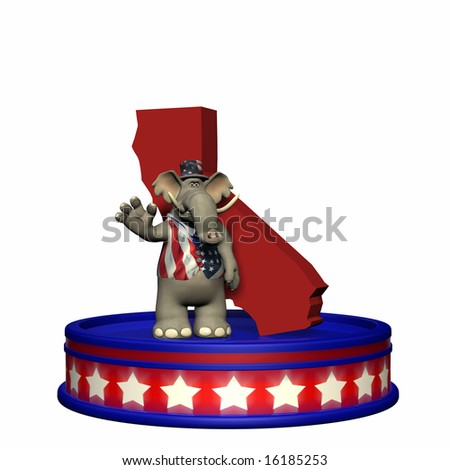 Republican Platform - California Political Elephant standing on a red, white, and blue platform in front of a 3D California. Isolated on a white background.
