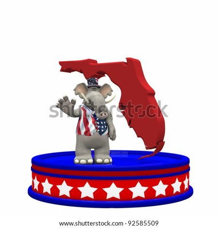 Republican Platform - Florida Political Elephant standing on a red, white, and blue platform in front of a 3D Florida. Isolated on a white background.