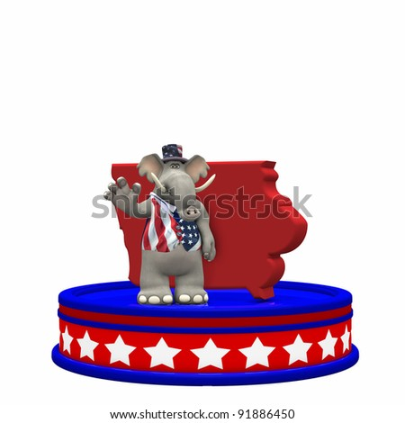 Republican Platform - Iowa GOP Political Elephant standing on a red, white, and blue platform in front of a 3D Iowa. Isolated on a white background.