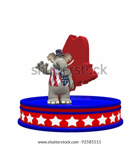 Republican Platform - Maine GOP Political Elephant standing on a red, white, and blue platform in front of a 3D Maine. Isolated on a white background. - stock photo