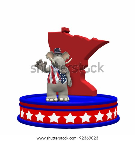 Republican Platform - Minnesota GOP Political Elephant standing on a red, white, and blue platform in front of a 3D Minnesota. Isolated on a white background.