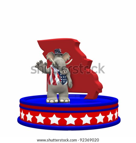 Republican Platform - Missouri Political Elephant standing on a red, white, and blue platform in front of a 3D Missouri. Isolated on a white background.