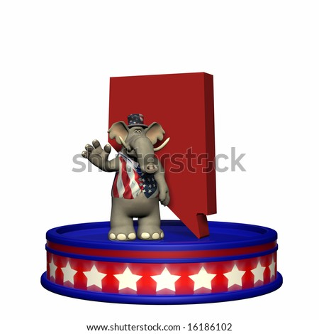 Republican Platform - Nevada. GOP Political Elephant standing on a red, white, and blue platform in front of a 3D Nevada. Isolated on a white background.