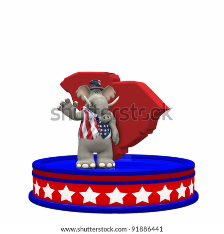 Republican Platform - South Carolina GOP Political Elephant standing on a red, white, and blue platform in front of a 3D South Carolina. Isolated on a white background.