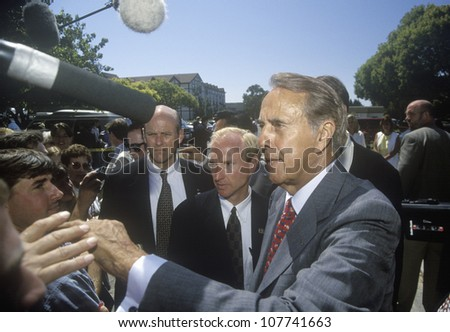 Republican presidential candidate for the 1996 election, Senator Bob Dole greets people at a rally at Temple Christian School in Ventura, California