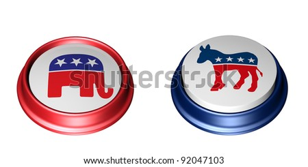 Republican Vote. Two Political Party Buttons. One in the up position and the other in the depressed position. Vote. Isolated on a white background.