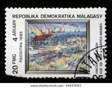 "REPULLICA MALAGASY - CIRCA 1985: A stamp printed in Malagasy (Madagascar) shows paint by artist Vincent van Gogh ""View of bay Saint-Maries"", circa 1985"