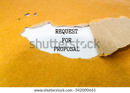 Request for proposal text  on brown envelope  #342000665