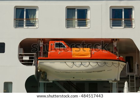 Rescue Boat on the ship in case of emergency situations. #484517443