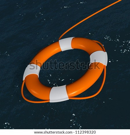 Rescue,Float Over Sea Close-up - stock photo