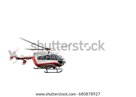 Rescue helicopter in sky, isolated