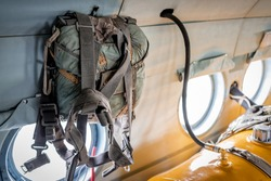 rescue military parachute bag in the helicopter cabin