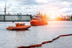 Rescue operation, in case of oil spill in the port-rescue service ships