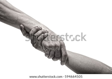 Rescue or helping gesture of hands