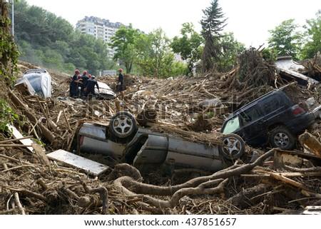 Rescue Service assorted debris after floods #437851657