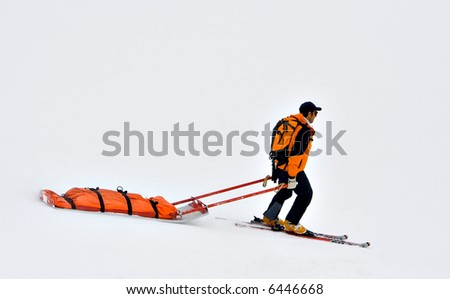 Rescue sled in the snow