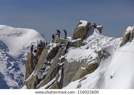 Rescue team climb in montain