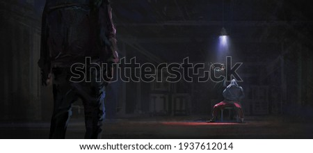 Rescue the kidnapped hostages in the warehouse, digital painting, 3D illustration. Photo stock ©