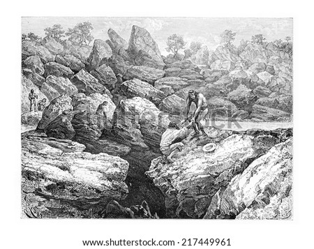 Rescued by a Native From the Edge of a Precipice in Oiapoque, Brazil, drawing by Riou from a sketch by Dr. Crevaux, vintage engraved illustration. Le Tour du Monde, Travel Journal, 1880 Photo stock ©