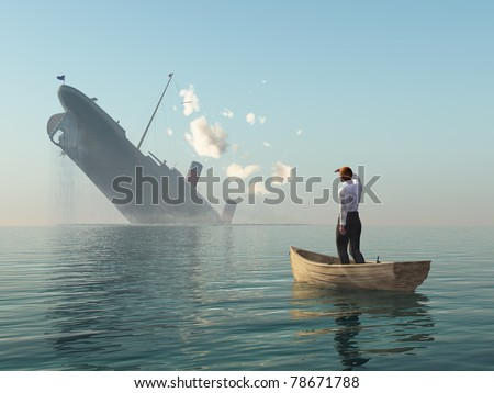 rescued man in boat looking on shipwreck