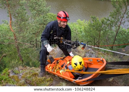 rescuer on the rope, exercise special police units, the real situation, the Czech Republic, the city of Kadan