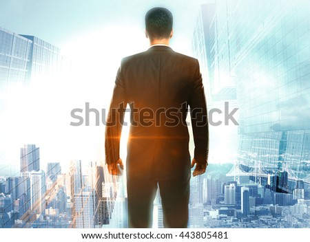 Research concept with back view of thoughtful businessperson on city background with sunlight