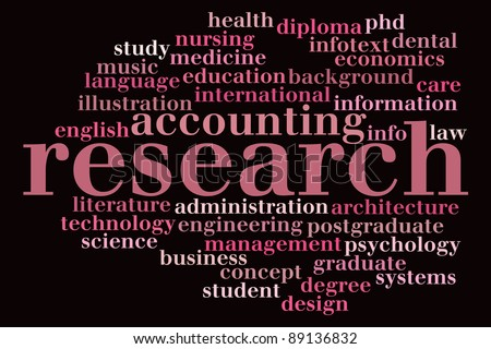 Research info-text graphics and arrangement concept  (word cloud) - stock photo