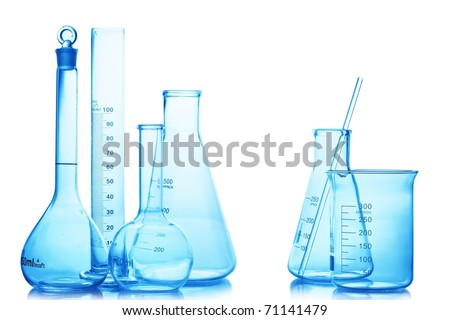 Research lab assorted glassware equipment isolated