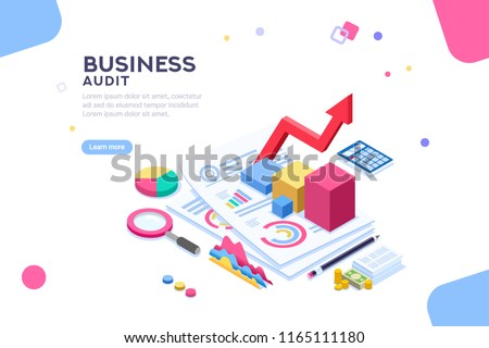 Research of engineering financial audit. Business examiner of documents. Isometric report, consultant account administration at consult meeting for accounting. Flat Isometric illustration.