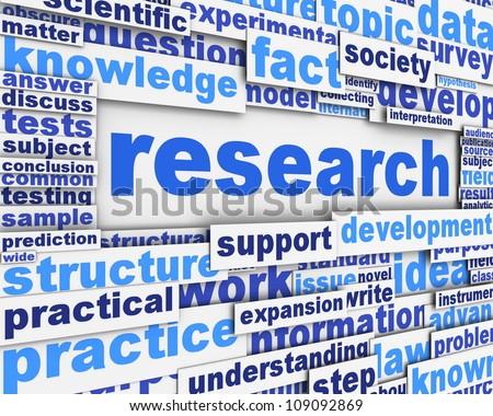 Research poster design. Scientific research message concept