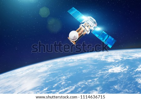 Research, probing, monitoring of in atmosphere. Communications satellite in orbit above the surface of the planet Earth. Elements of this image furnished by NASA