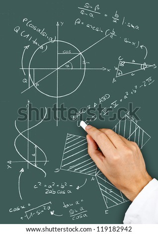 Research scientist writing maths diagrams and formulas with chalk on blackboard