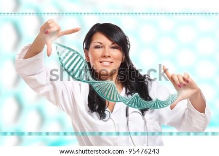 Researcher or a medic holding up a DNA strand. This could be also futuristic doctor using genetic engineering techniques known as recombinant DNA technology.