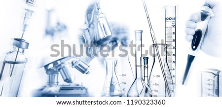 Researcher with active ingredient a microscope, pipette and other laboratory equipment