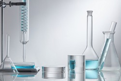 Researchers are using glassware in laboratories, research on cosmetics and energy on white background.
