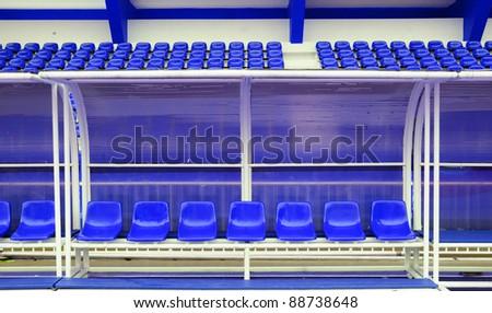 Reserve and staff bench in sport stadium in Thephasadin stadium, Bangkok, Thailand.