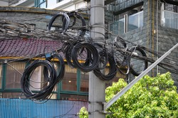 Reserve cable in a street in Shanghai