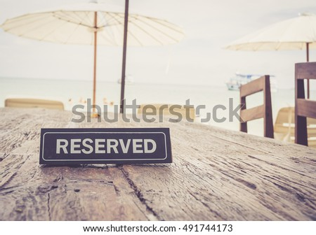 reserved banner on restaurant...