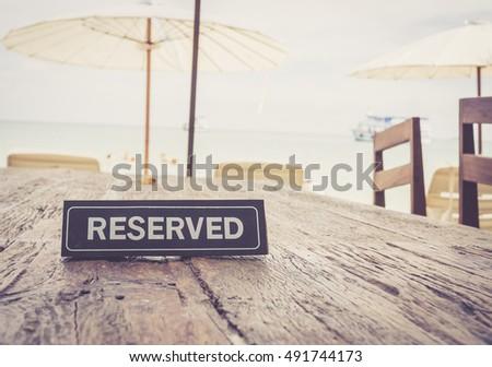 reserved banner on restaurant...