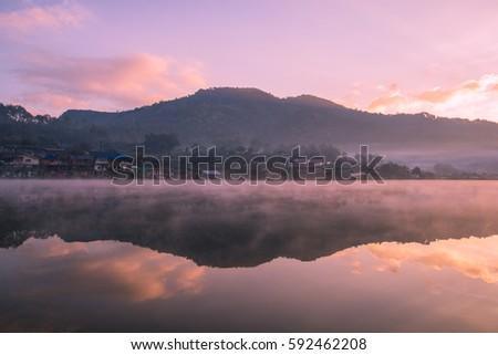 Reservoir at the Sunrise time , Locations Rak Thai village , Mae Hong Son province , Thailand