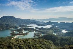 Reservoir Islands Viewpoint at Tai Lam Chung in Tuen Mun, Hong Kong.  Also known as Thousand-island Lake