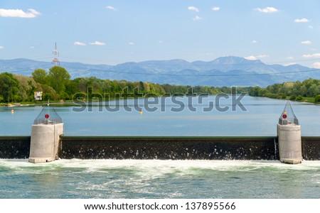Reservoir of Vogelgrun Hydroelectric Power Plant on Rhine river
