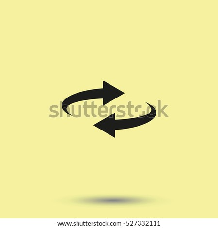Reset button, reload arrows symbol. Flat illustration. #527332111