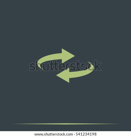 Reset button, reload arrows symbol. Flat illustration. #541234198